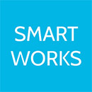 Smart Works on blue background