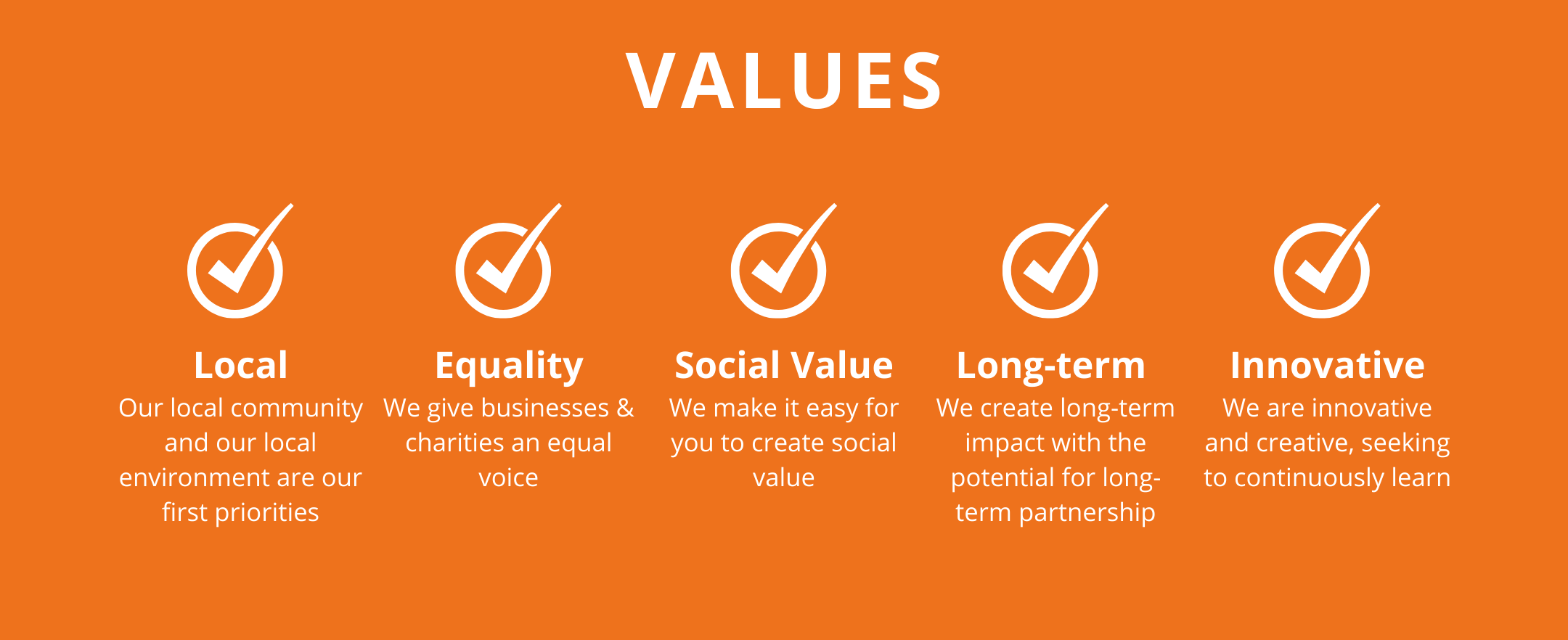 VALUES: Local, Our local community and our local environment are our first priorities. Equality, We give businesses & charities an equal voice. Social Value, We make it easy for you to create social value. Long-term, We create long-term impact with the potential for long-term partnership. Innovative, We are innovative and creative, seeking to continuously learn.